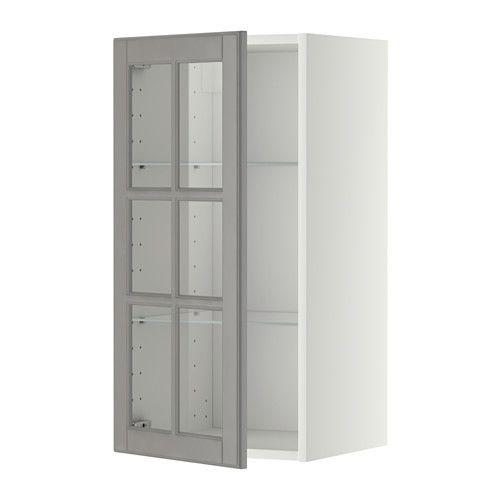 metod wall cabinet w shelvesglass door white bodbyn grey 40x37x80 cm. beautiful ideas. Home Design Ideas