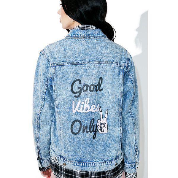Good Vibes Only Jean Jacket ($51) ❤ liked on Polyvore featuring outerwear, jackets, jean, jean jacket, honey punch, blue denim jacket, denim jacket and metal denim jacket