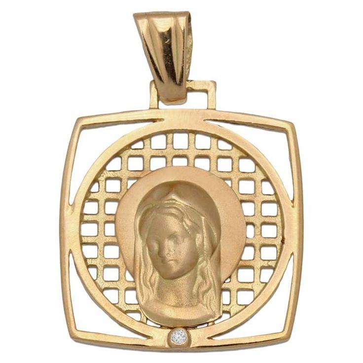 #Medalla de Oro 18 Kl. cuadrada Virgen Niña 20 x 23 Mm. : Joyeria online | joyeria plata | joyeria de plata Precioso diseño de Medalla, está realizada en Oro de 18 Kl., su forma es cuadrada, va calada y lleva una Circonita en su parte inferior. Una joya diferente perfecta para hacer un regalo especial, se convertirá en un recuerdo para siempre.  ¡Decídete ahora y podrás tener esta Medalla cuadrada para Comunión Virgen Niña en Oro de 18 Kl. con Circontia!  Medidas: 20 x 23 Mm.
