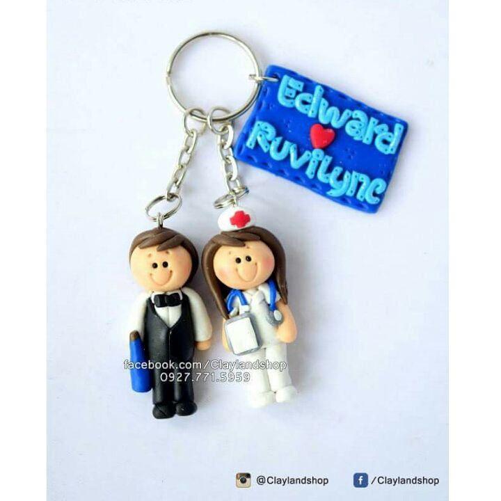Bar tender Groom and Nurse Bride Polymer Clay Souvenir Keychain