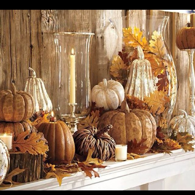 Different size hurricane/vases, pumpkins for Mantle/Display
