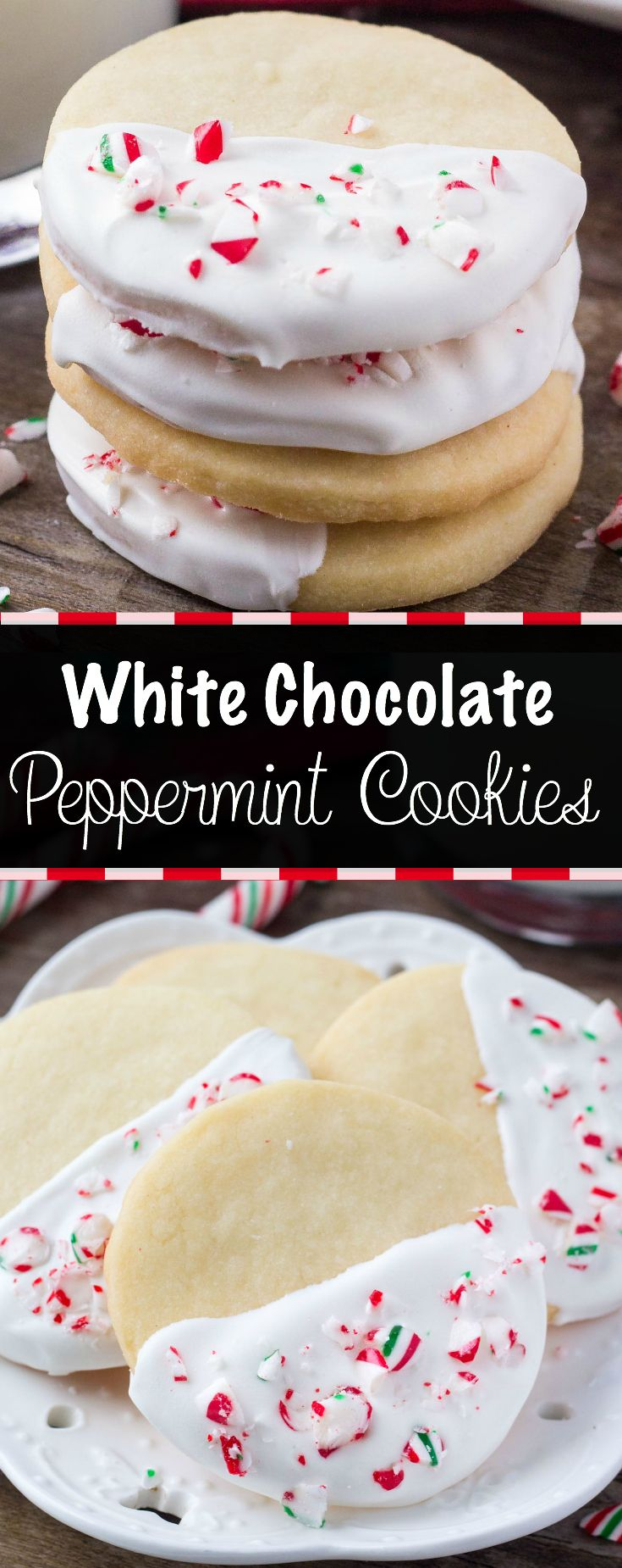 Buttery, melt in your mouth shortbread cookies infused with peppermint then dipped in chocolate and sprinkled with crushed candy canes. These white chocolate peppermint shortbread cookies are perfect for Christmas! via @ohsweetbasil