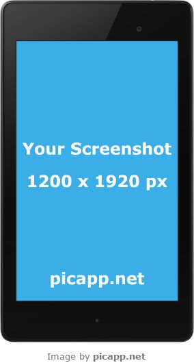 The Google Nexus 7 frames on PicApp.net allow you to show your app in a new style by uploading any screenshot and then downloading the image to your PC.  #googleNexus7 #nobackground #mockup #google #nexus