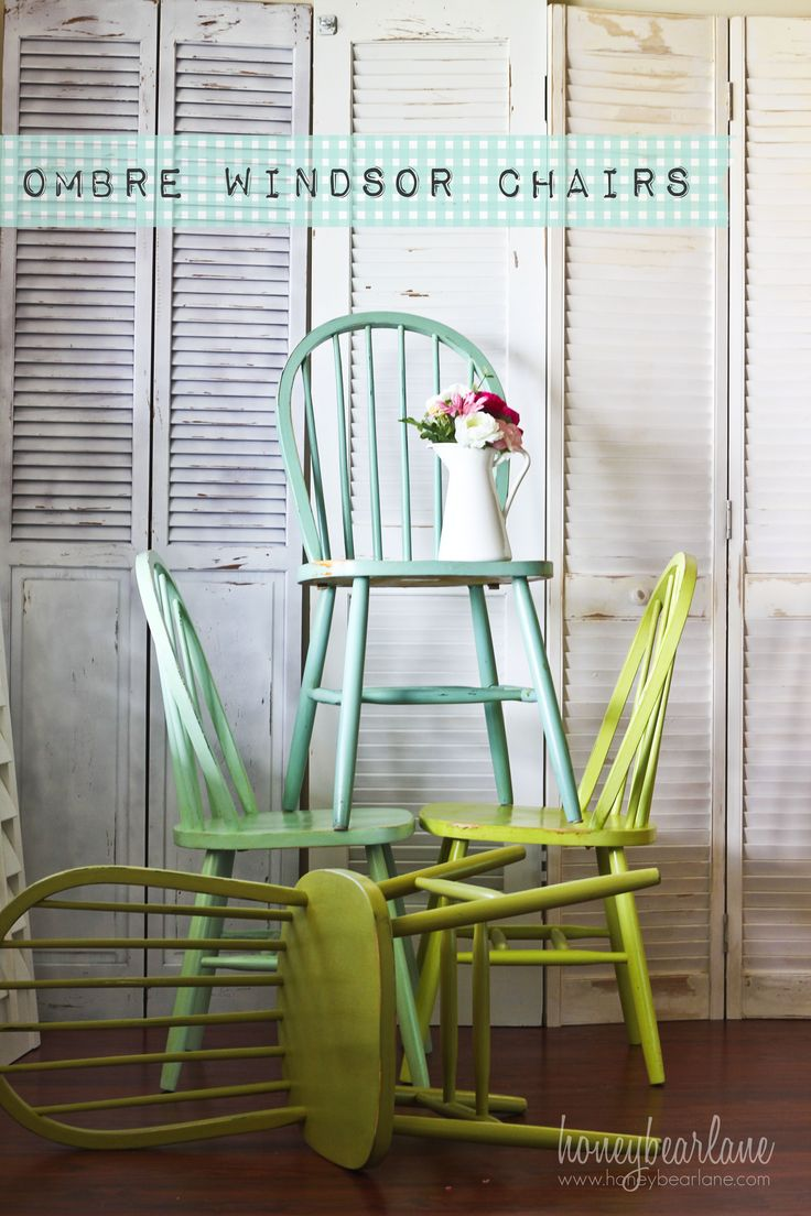 ombre windsor chairs with different shades of green and blue