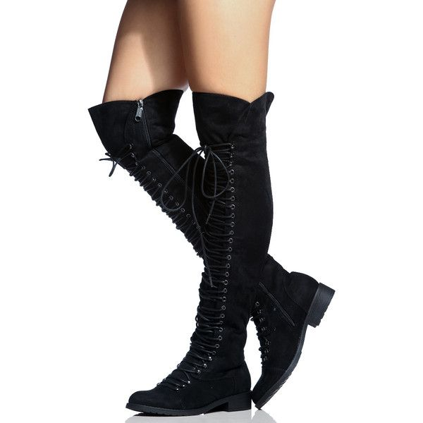CiCiHot Black Faux Suede Thigh High Combat Boots (1,120 PHP) ❤ liked on Polyvore featuring shoes, boots, zipper combat boots, military boots, black boots, army boots and thigh-high boots