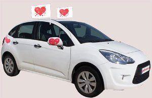 Hochzeitsspiel Autokolonne: Autodekoration für Hochzeitsautos (5 Komplett-Sets für 5 Autos) - Autoschmuck für die Gäste zur Hochzeit