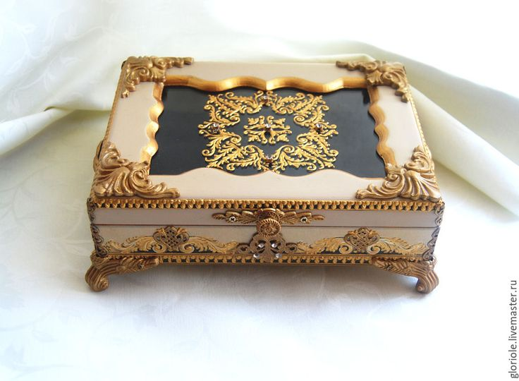 """Купить шкатулка """"Аристократка"""" - золотой, сливочный цвет, аристократка, Роспись по стеклу, подарок девушке"""