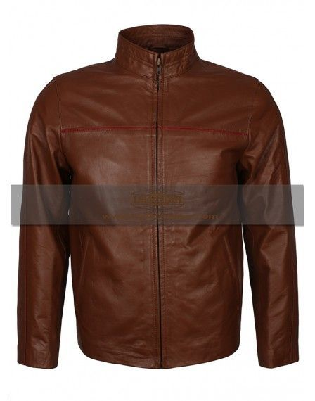 Brown Simple Red Line Decent Biker leather Jacket, men's leather jacket for sale special discount offer on styloleather