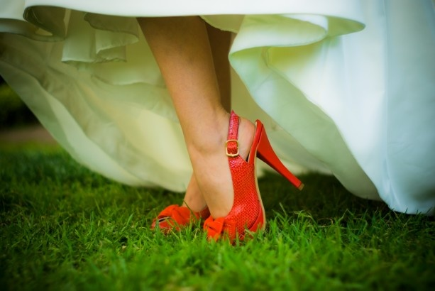 Red Shoes Wedding Photo