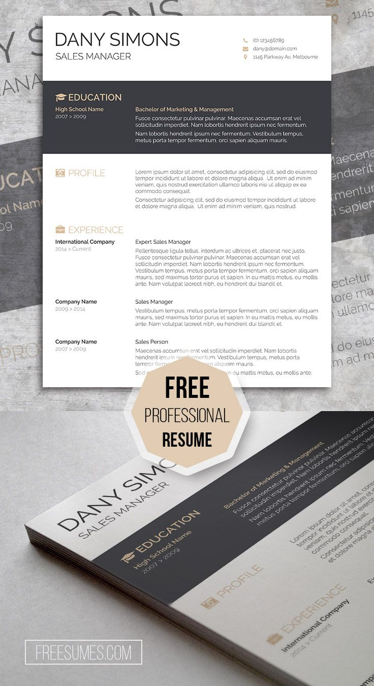 Free 1 Page Resume Template%0A A Light And Dark Free CV Template  u     The Modish Applicant