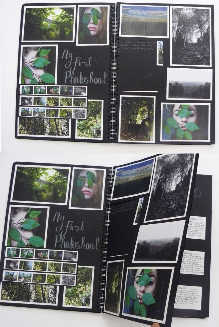 AS Photography sketchbook with cut out piece for own photoshoot, Thomas Rotherham College, 2014
