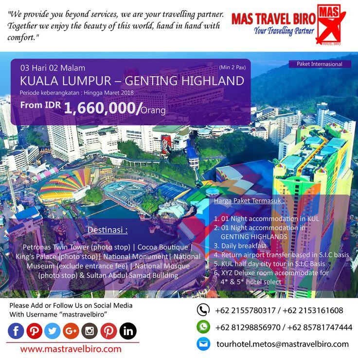 Paket tour ke KUALA LUMPUR - GENTING HIGHLAND 3 Hari 2 Malam, mulai dari harga Rp 1.660.000/Pax. Pesan sekarang di MAS Travel Biro   (Harga tidak termasuk tiket pesawat)   #mastravelbiro #promotravel #travelagent #tourtravel #tourtravelmurah #travelservices #tiketpesawat #travelindonesia #opentrip #familytour