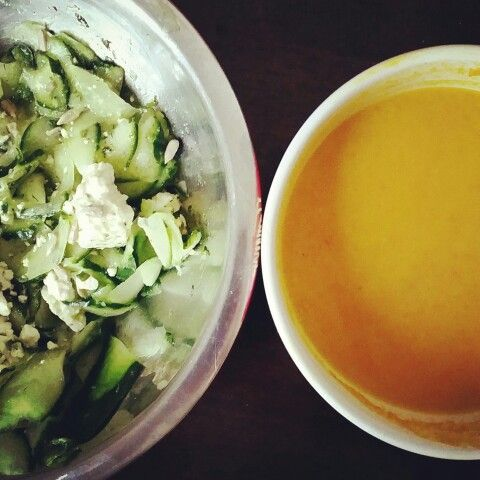 Cucumber salad and carrot/ginger soup