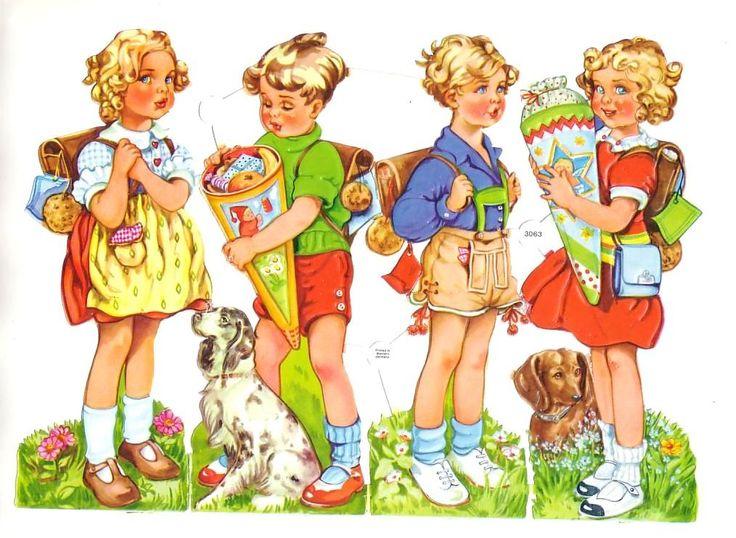Troqueladas Vintage Scrap niños con juguetes Conos y Perros Alemania (Image1)