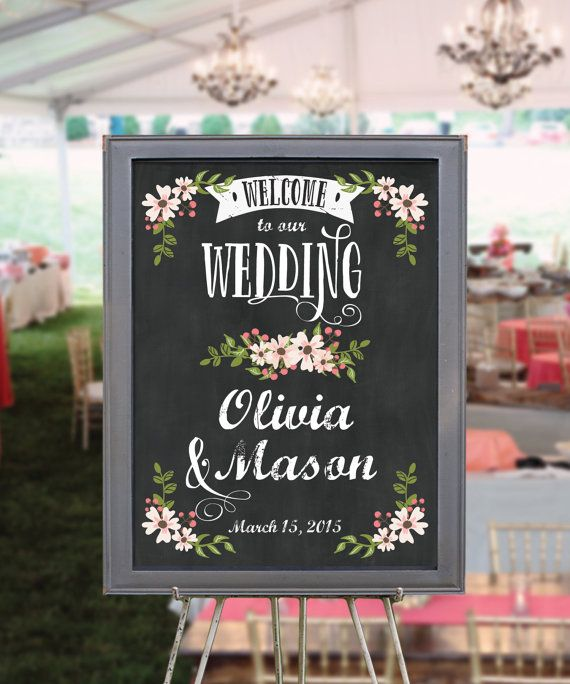 Custom Chalkboard Welcome Sign  Wedding by CreativeUnionDesign