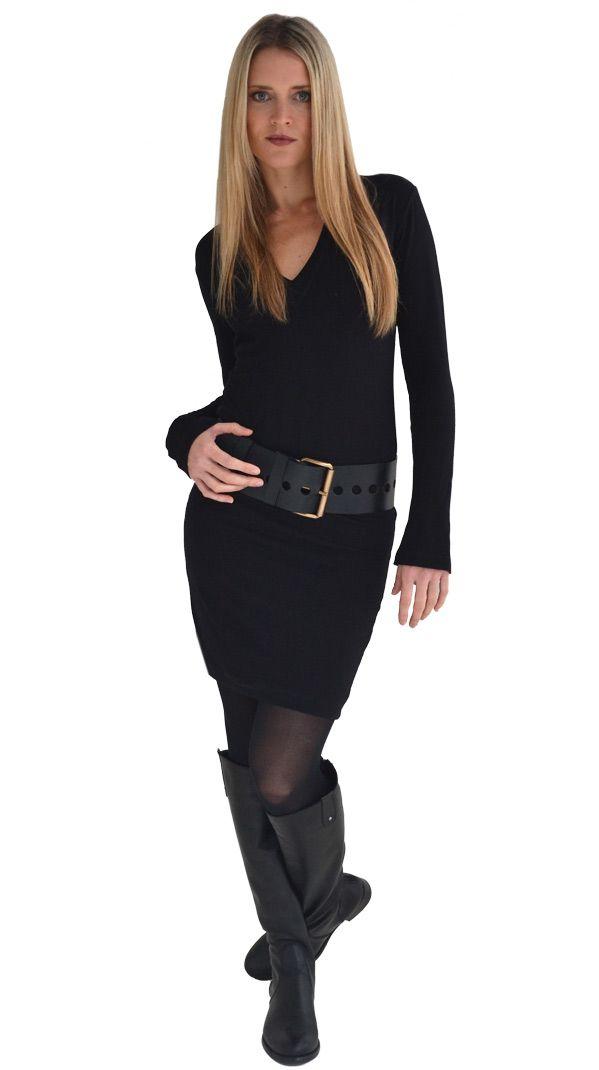 Basic Black : Black V- T dress | Philosophy clothing - designer clothing for women on the move