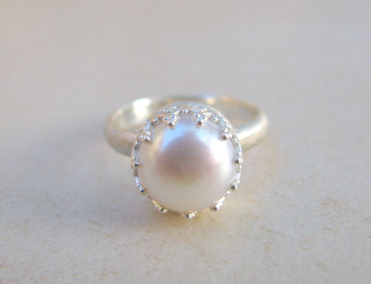 Pearl ring engagement ring silver ring delicate by ArtIsApassion, $69.00
