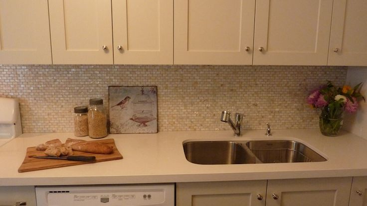Mother Of Pearl Countertops : Benjamin moore natural cream on cabinets olympia tile