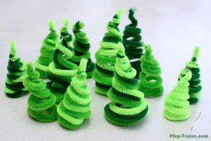 The fun and Cute Pipe Cleaner Trees are whimsical and easy. Children can make these crafts for kids on their own and then add them to a play train or doll set.