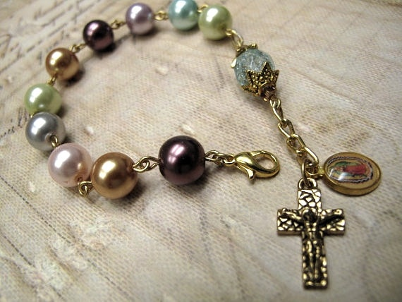 Multicolor Glass Pearls Rosary Bracelet 1Decade