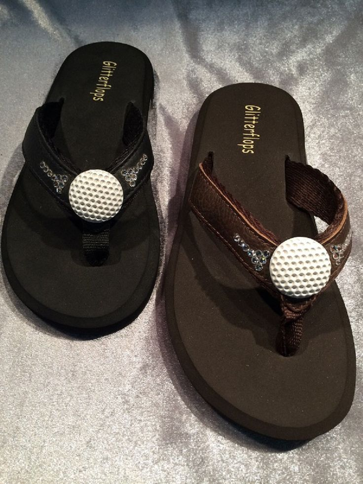 Golf Ball  - orthopedic flip flop embellished with genuine Swarovski crystals!  Ladies sizes 5-11 (no half sizes)  www.beadifuljewelryglitterflopsandcaps.com