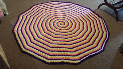 """62"""" 4-color spiral Afghan using RH SS"""