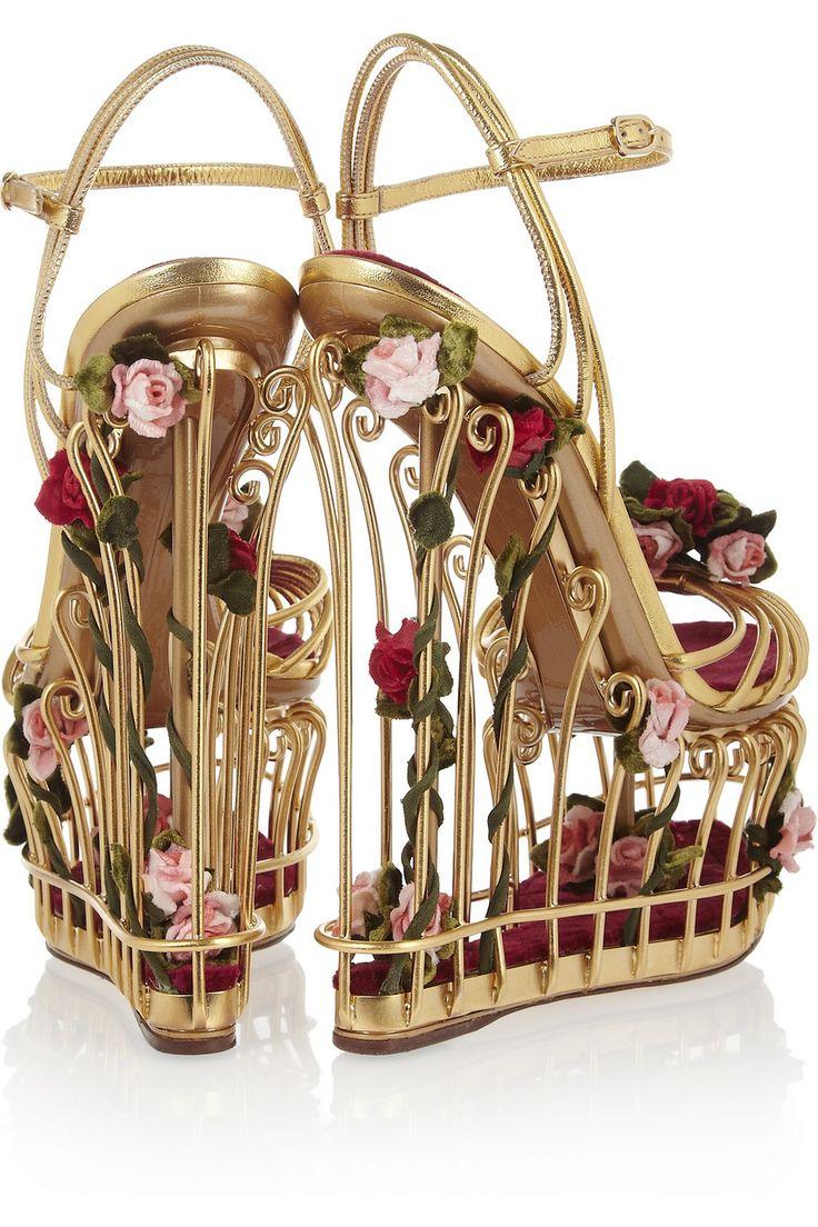 Dolce & Gabbana Rose Embellished Cage Sandals €3,950 Fall 2013 D&G #Wedges #Shoes