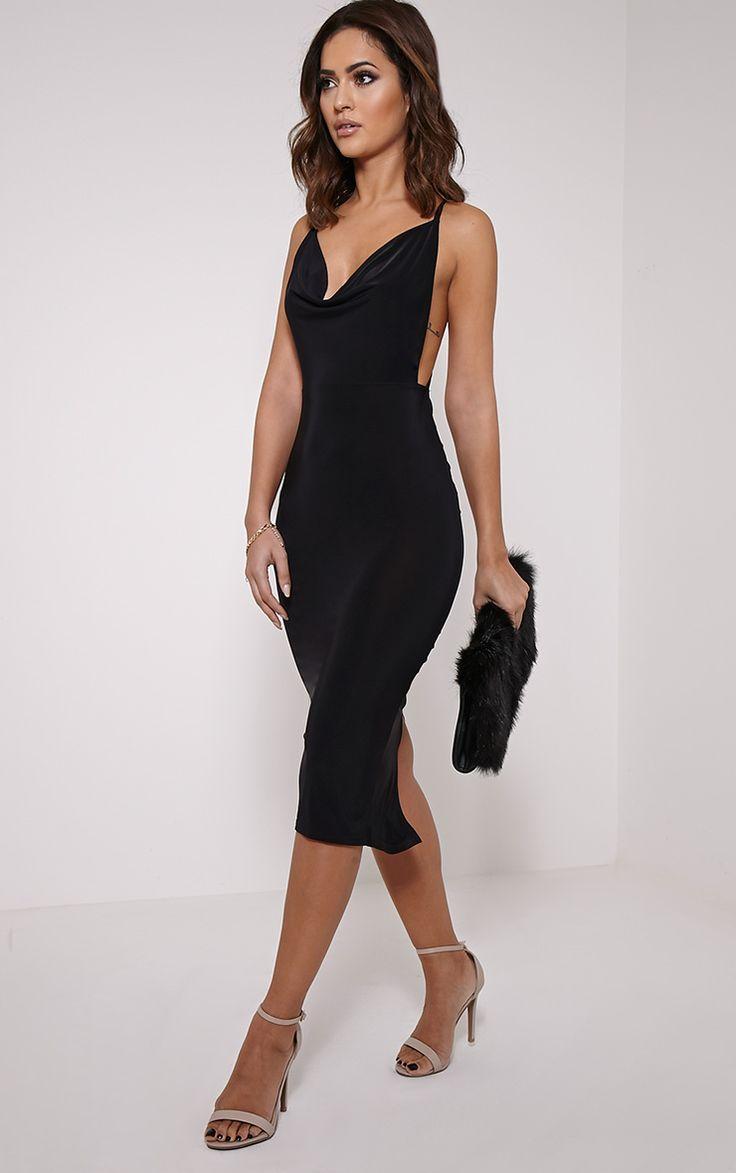 Kayda Black Cross Back Cowl Neck Slinky Midi Dress Image 3