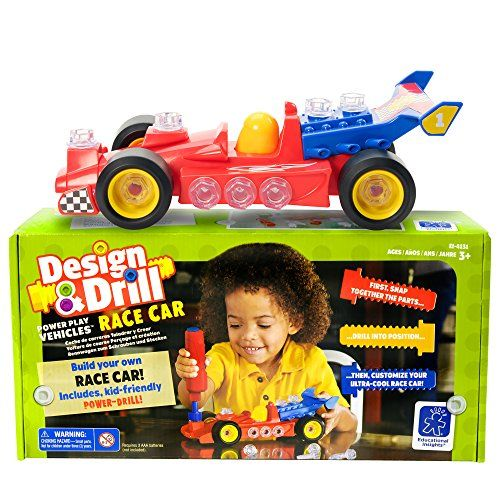 Give the gift of 3 in 1 fun with the Design & Drill Power Play Vehicles Race Car! Kids snap the pieces together, use a power screwdriver to insert colorful bolts, decorate with stickers, and use their own kid-power to race and roar. Ages 3+.