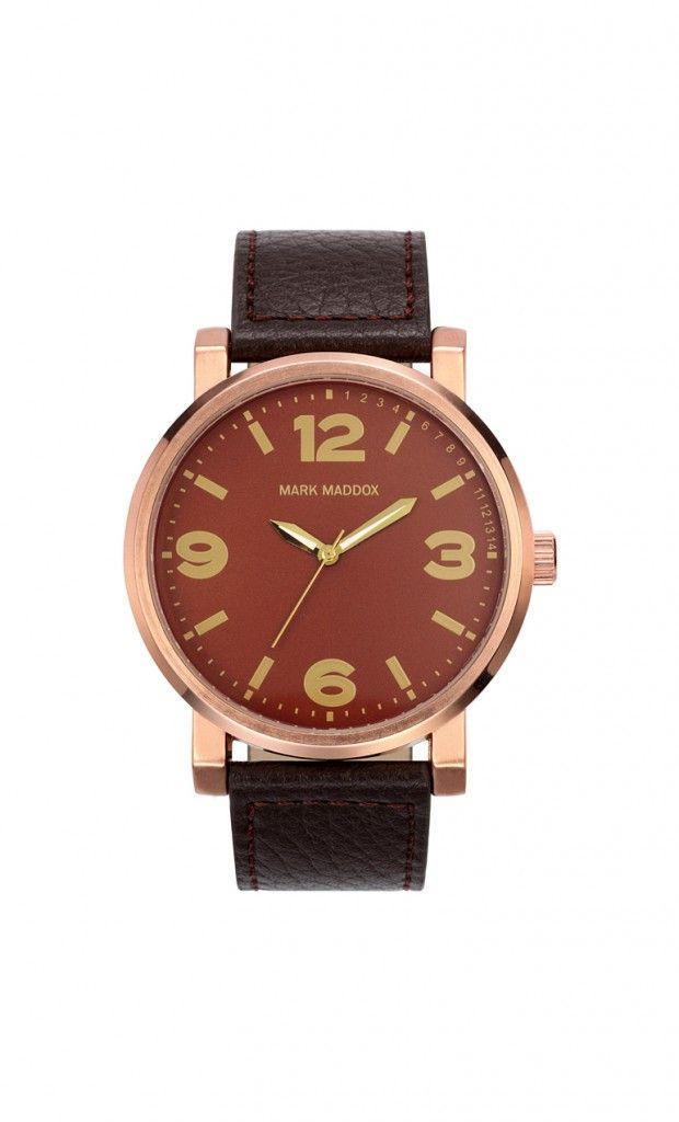 Ideal para los días de paseo. Reloj tres agujas con correa marrón, esfera marrón y bisel IP Rosa. Cierre de hebilla. Cristal mineral. Impermeable 30m (3ATM).