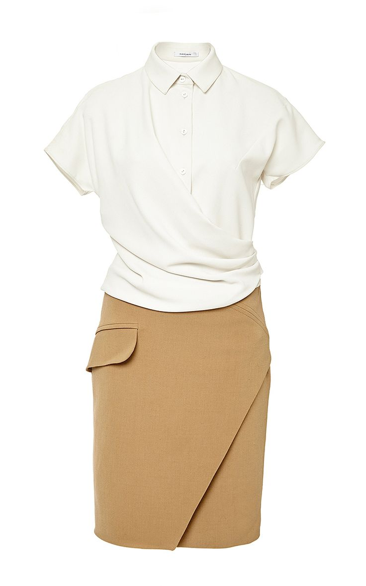 Camel Short Sleeved Bicolored Dress by Carven Now Available on Moda Operandi