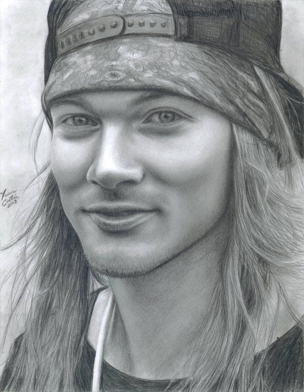 Axl Rose from Guns N' Roses...One of my favs! Tools used: ebony pencil, printer paper, kneadable eraser, and cotton. Worked on this during Summer vacation. I'm fairly glad with it...I have to recog...