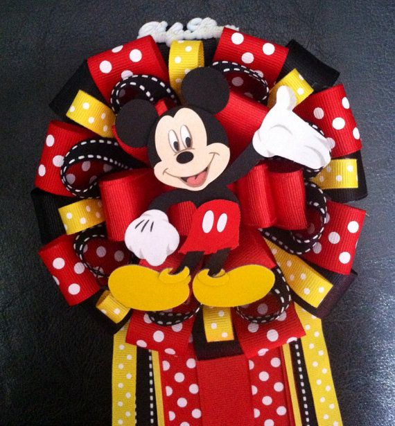 Clearance nautical mickey mouse corsage set dads mom for Baby minnie decoration ideas