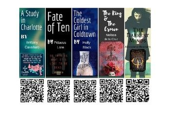 Students can scan QR codes with a reader to watch quick book trailers. This download contains 30 QR Code book trailer bookmarks for high school students. Each trailer highlights the novel from a youtube video. These bookmarks would be great for libraries or
