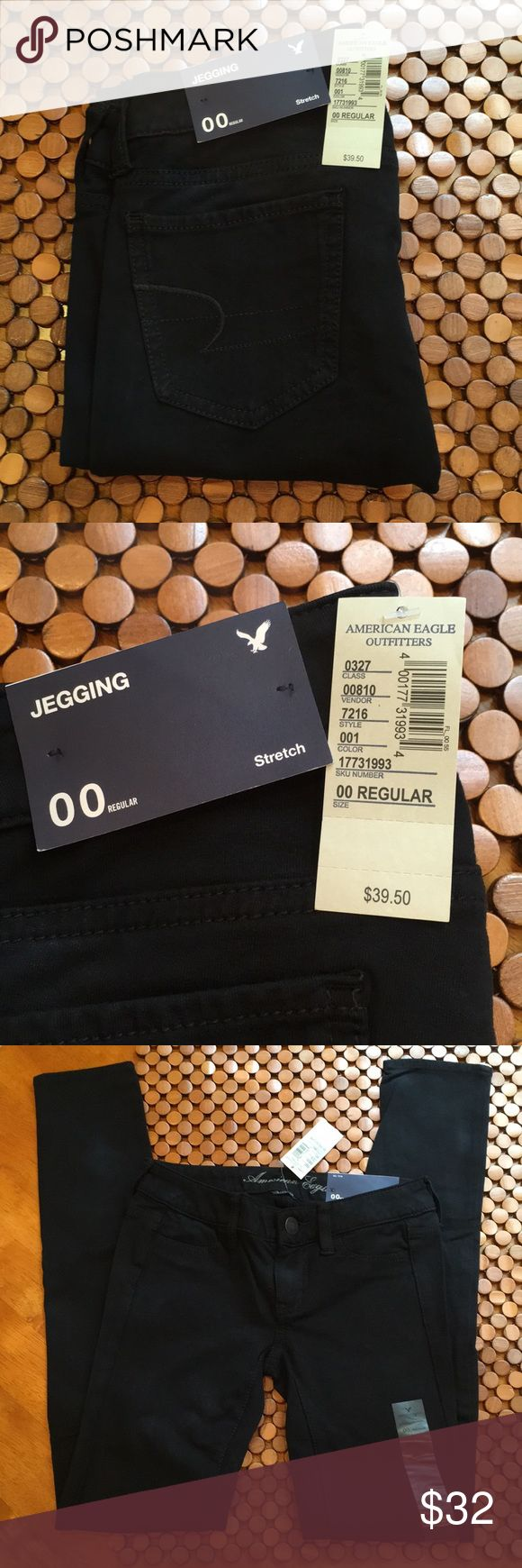 """American Eagle Jeggings NWT size 00 Super sexy black stretch jeggings by American Eagle. New, with tags - I just took them out of the bag to post. These are an amazing soft material and the tag reads 95% cotton 5% spandex. These are not a heavy denim. These are a cozy and soft fabric that hugs your body without being restrictive. They wear sold online as jeggings/jeans but are a little more like a jegging/pant. You can wear these all 4 seasons. Inseam is about 30"""". They are low-rise with the…"""
