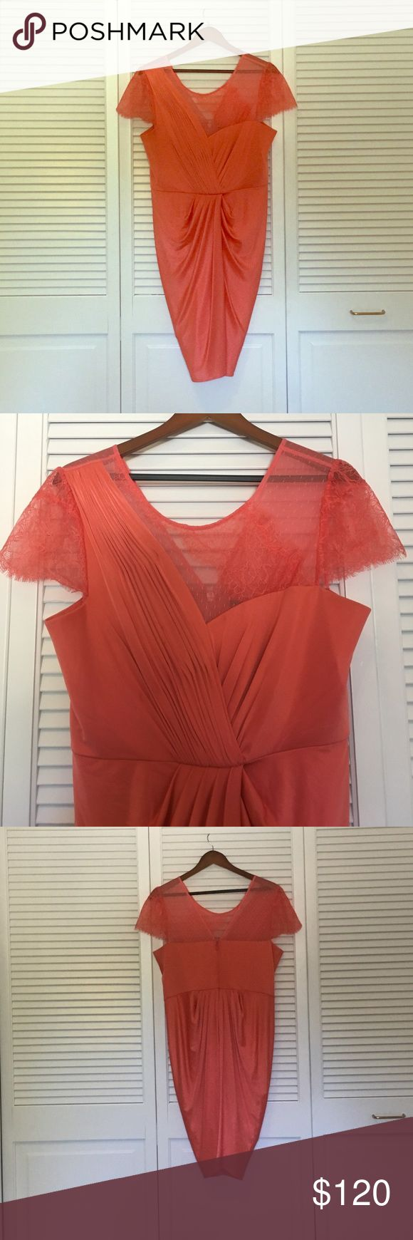 CORAL COCKTAIL DRESS W LACE & GRECIAN DRAPING 96% ACETATE 4% SPANDEX, LINNED, LACE DETAIL, GREAT CONDITION-WORK ONCE BCBGMaxAzria Dresses Mini