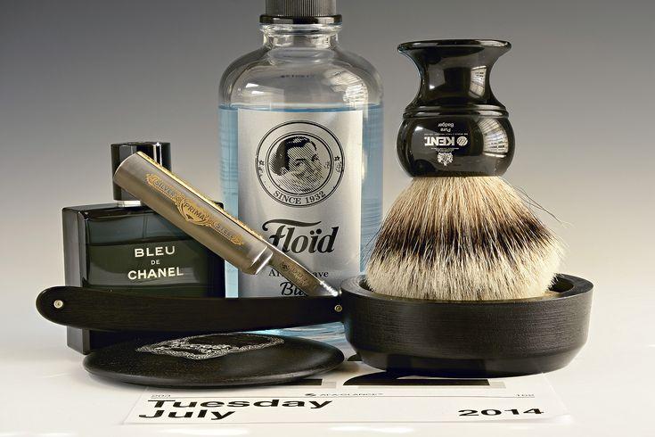 "Trumper's Eucris shave soap, Kent badger brush, Dovo 5/8"" straight razor, Floid Blue aftershave, Chanel Bleu cologne, July 22, 2014"