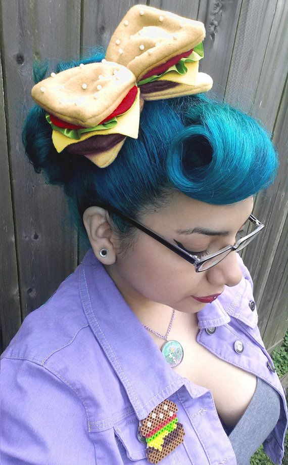 The Burger Babe Bow Cheeseburger Hair Bow by HappyMillsShop