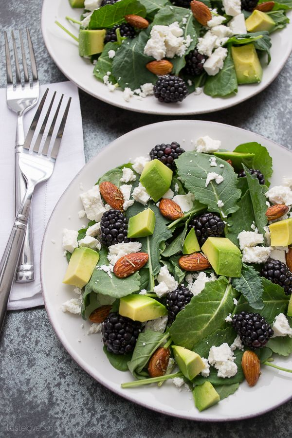 Baby Kale and Blackberry Salad with Ricotta Salata, Avocado and Rosemary Honeyed Almonds