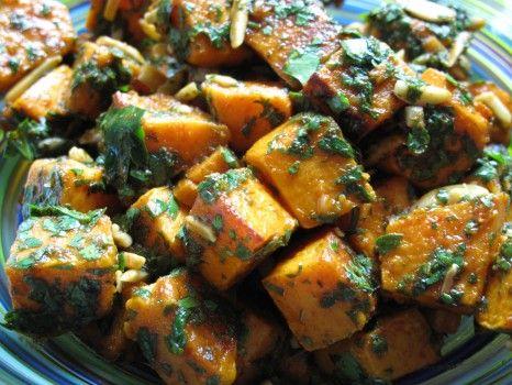 Moroccan sweet potato salad - with olive oil, lemon, cilantro and almonds