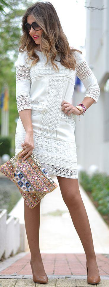 White Crochet Dress Outfit Idea by Mi Aventura Con La Moda