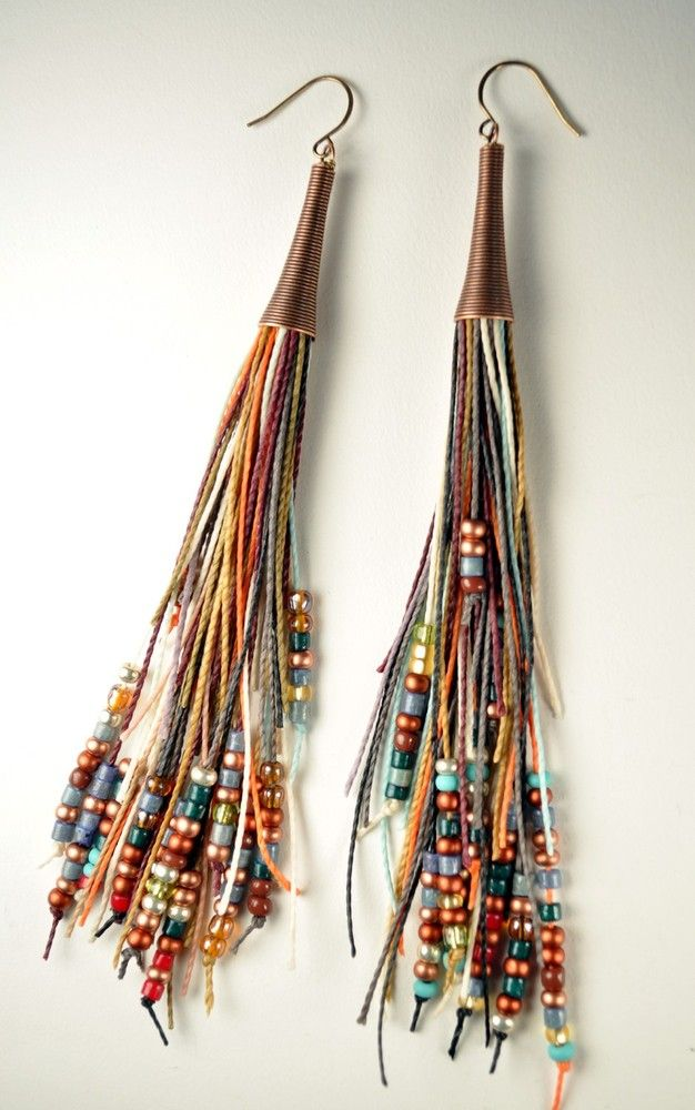 Amira Jewelry - Vegan Feather Fringe Earrings...these remind me of something regan newsom wouuld wear