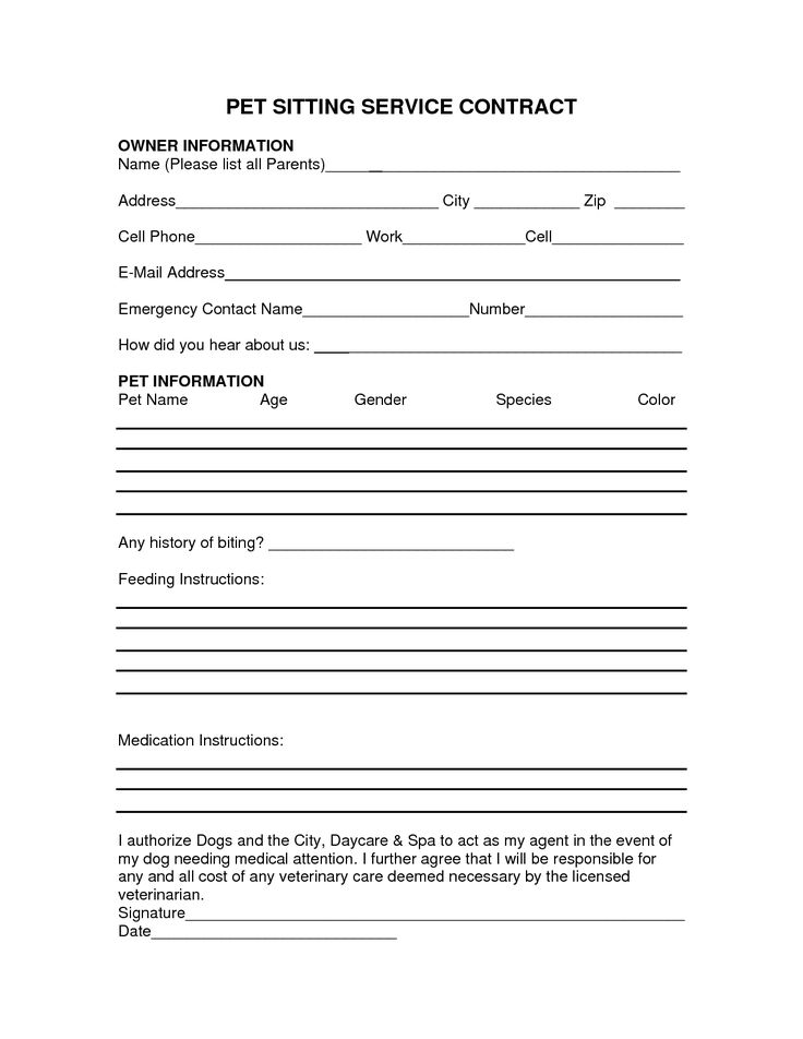 Pet Sitting Instruction Template Free | PET SITTING SERVICE CONTRACT - PDF