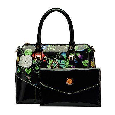 Luxe draagtas hobo zwart lakleer / bloemen print met portefeuille