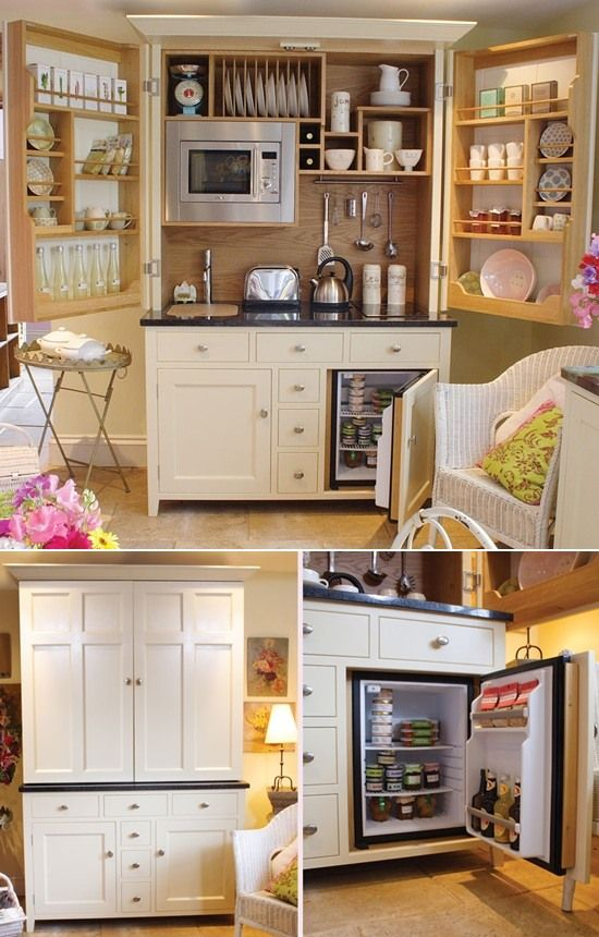 The aesthetic of this marvelous, customized kitchen hutch (with space for a refrigerator, microwave, sink, and storage) can take on any personality, even shifting into an entirely modern look... the idea here is absolute genius!  For city dwellers with tiny spaces, a pool house, a guesthouse, or even a master suite, this is convenience at its most visually pleasing.