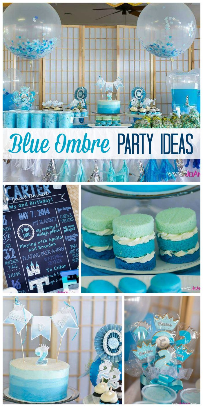 A royalty themed boy birthday party with blue ombre cakes, cupcakes, cotton candy and popcorn!  See more party planning ideas at CatchMyParty.com!