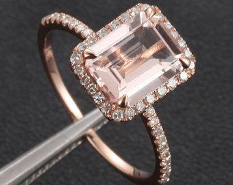 14k oro 6x8mm smeraldo taglio Morganite anello pavé di diamanti anello di fidanzamento anello nuziale