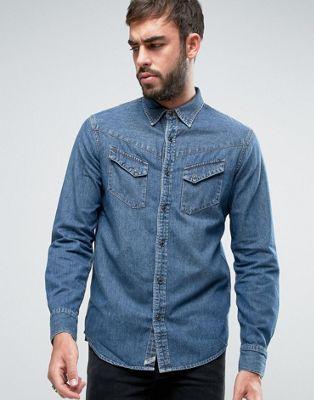 Узкая выбеленная джинсовая рубашка в стиле вестерн Denim & Supply Ralph Lauren