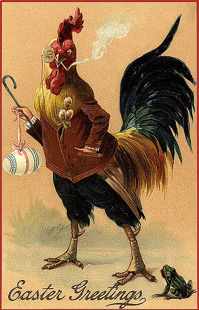Vintage Easter Greeting Card rooster