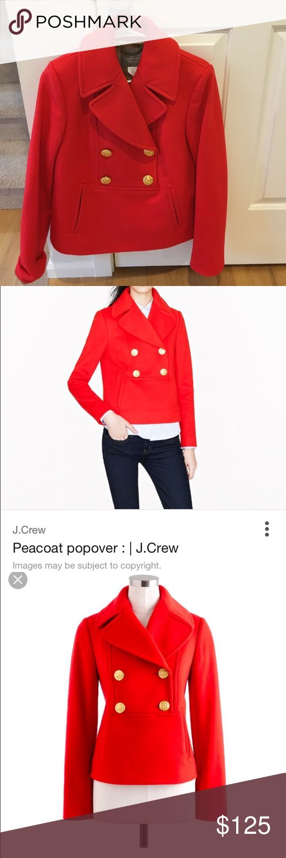 Red Jcrew popover pea coat size 8. See pictures.  Like new condition.  Only worn twice. J. Crew Jackets & Coats Pea Coats